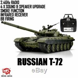 Heng Long Radio Remote Control RC Tank Russian T-72 Version 6 with Infrared
