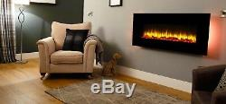 Holbeck Wall Mounted Electric Fire, Black Flat Glass with Remote Control