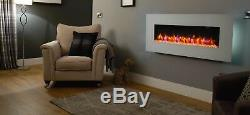 Holbeck Wall Mounted Electric Fire, White Flat Glass with Remote Control