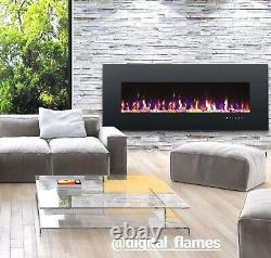 Large 50 Inch Led Black White Glass Wall Mounted Flushed Electric Fire Uk 2021