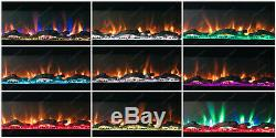 Large 72 INCH WIDE LED FLAMES BLACK GLASS WALL FLUSHED INSET ELECTRIC FIRE 2020