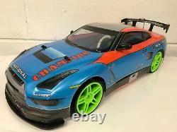Large Nissan Gtr 4wd Drift Rc Remote Control Car 1/10 Rechargeable 20mph Speed