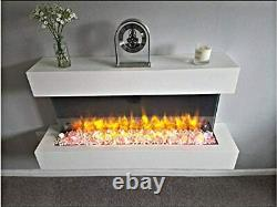 Large White Fireplace LED Flame High Gloss Wall Mounted Modern Electric Heater