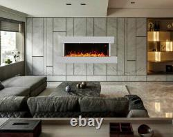 Large White Wall Mounted Fireplace Electric Modern Fire High Gloss Heater Screen