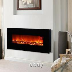 Modern 50 inch Wall Mounted Electric Fire Black Flat Glass with Remote Control