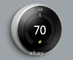NEST 3rd Generation Learning Smart Thermostat in Stainless Steel WITH BASE