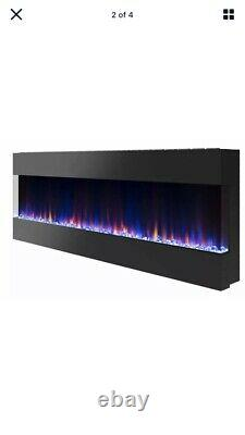 New Style Electric Fire 3 Sizes White or Black Wall Recessed Insert or Mantel