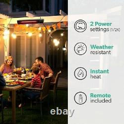 Outdoor Electric Infrared Wall Mounted Patio Heater with Free Remote Control and
