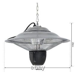 Outsunny Patio Ceiling Hanging Heater 1500W Electric Aluminium Remote Control