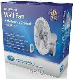 Prem-I-Air 16 (40 cm) Home Office Wall Desk Fan with Remote Control and Timer