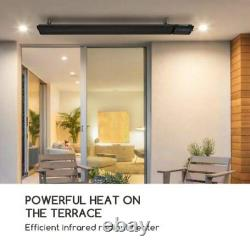 Radiant heater bar 2400W IP44 Infrared wall/ceiling Black Remote Control