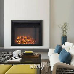 Recessed Electric Fireplace Wall Heater Fire LED Log Burning Flames Effect Stove