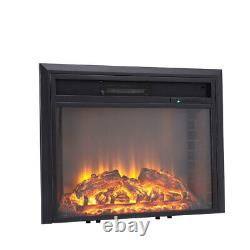 Remote Contro Electric Fire Fireplace 2KW LED Flat Glass Wall Heater Inset Stove