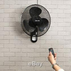 Schallen 16 Oscillating Wall Mounted Air Cool Fan with Timer & Remote Black