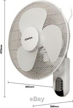 Schallen 16 Oscillating Wall Mounted Air Cool Fan with Timer & Remote in WHITE