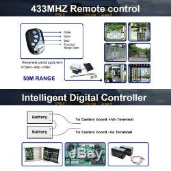 Solar Gate Opener Door Kit Electric Operator w. Remote Control Automatic Swing