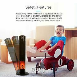 Tall Black Tower Fan Heater with Fireplace Ceramic Electric LED Remote 2000W
