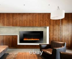 Wall Mounted Electric Fire Slim Fireplace Black Glass Remote Control Living Room