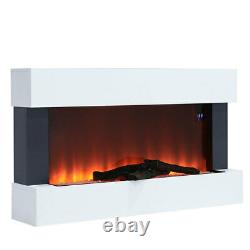 Wall Mounted Electric Fireplace LED Flame Glass Heater Fire Suite withRemote WIFI