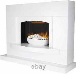 Warmlite Oxford Electric Pebble Fireplace, Adjustable Thermostat with Remote LED