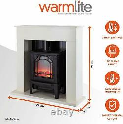 Warmlite WL45037W Ealing 1.8KW Compact Electric Stove Fireplace Suite, White N