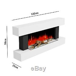 White 2kW Electric Fireplace Suite with Wooden Surround Remote Control LED Flame