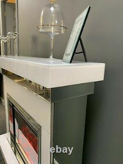 White Glass Mirrored Electric Fire and Fireplace Surround with Remote Control