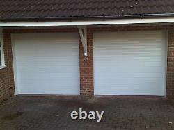 White Single Aluminium Insulated Electric Roller Garage door made in UK to size